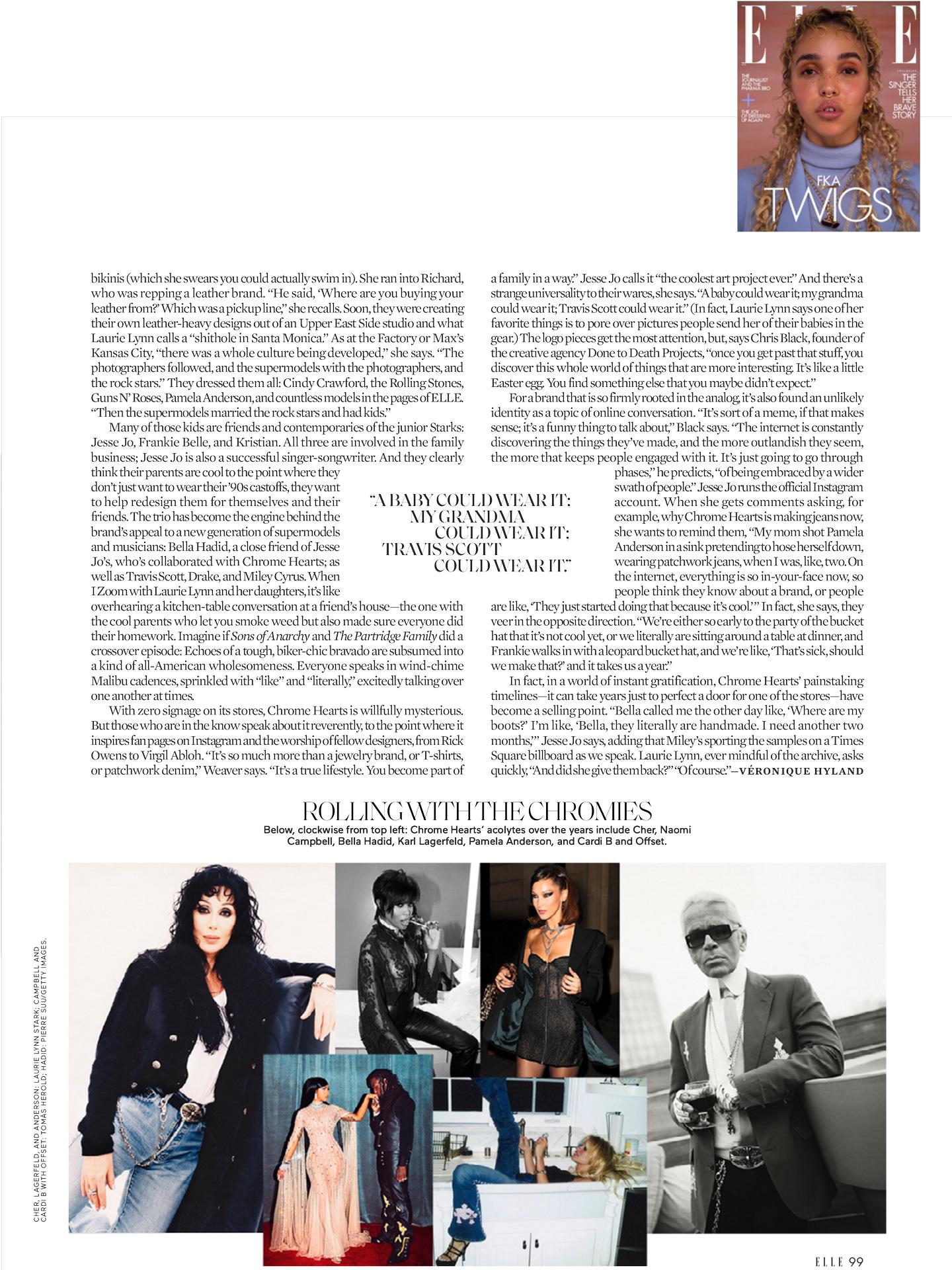 chrome hearts x Elle Magazine 2021 laurie lynn stark press