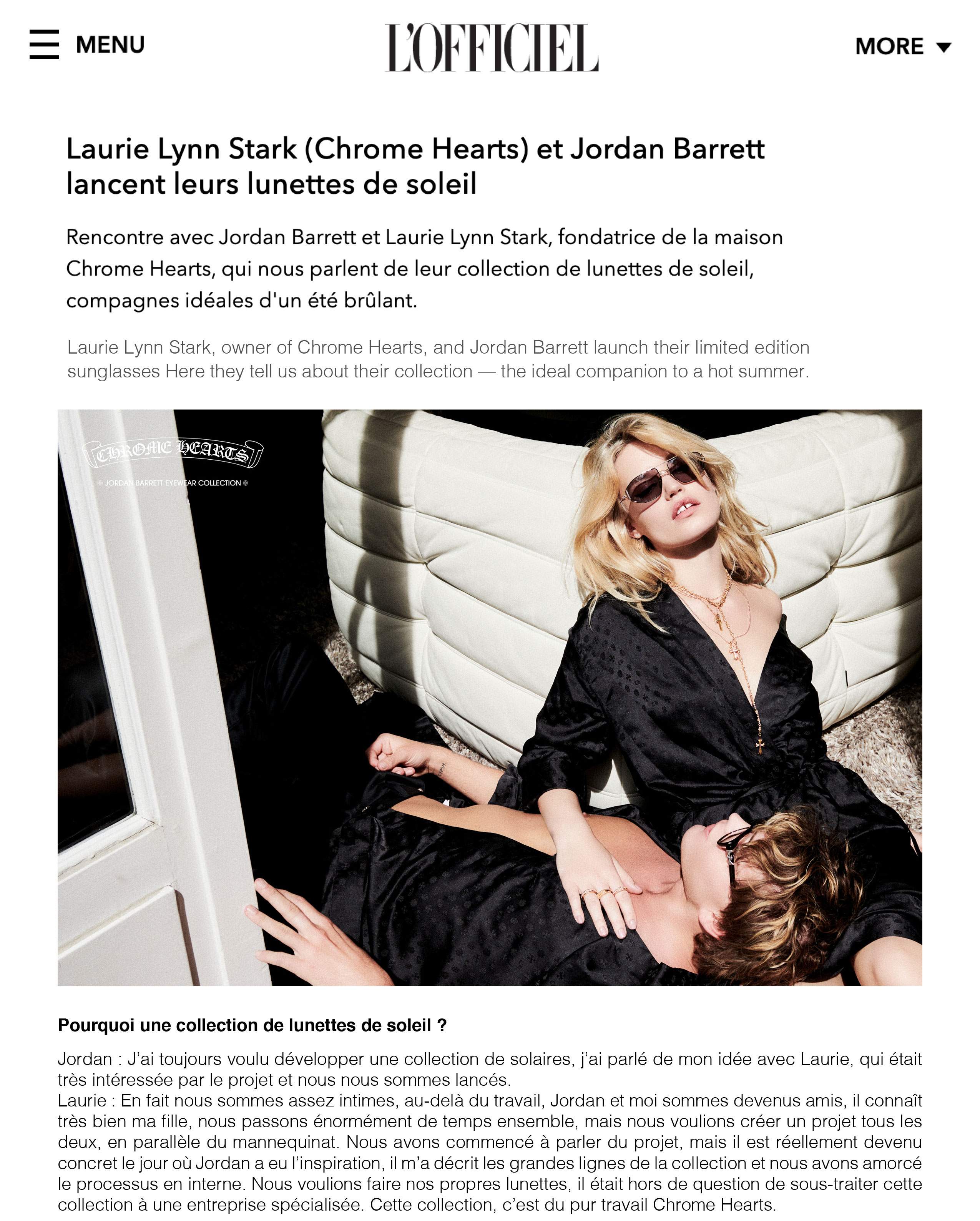 chrome hearts x L'OFFICIEL MAGAZINE laurie lynn stark press