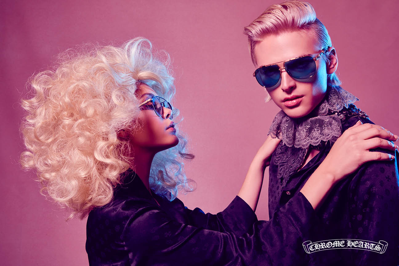 CHROME HEARTS Lanna Lyon on Pink Blonde Glasses Photography by Laurie Lynn Stark