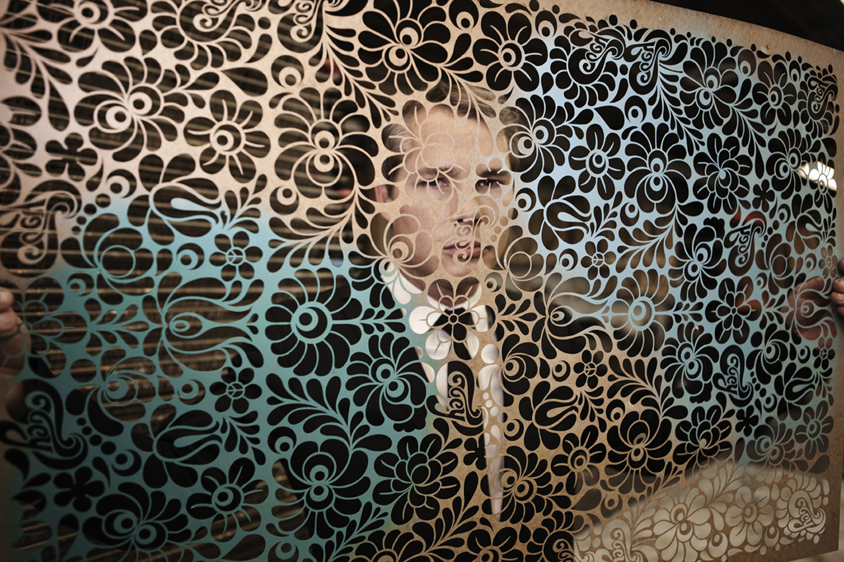 Shepard Fairey Lace Screen. Laurie Lynn Stark Photography